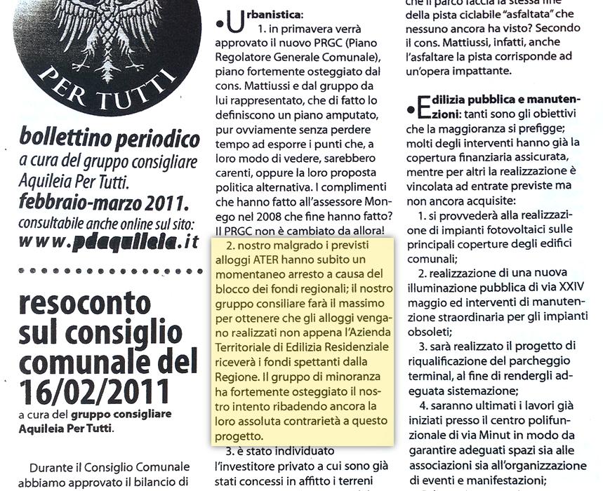 Case ATER Aquileia - mancanza fondi regionali